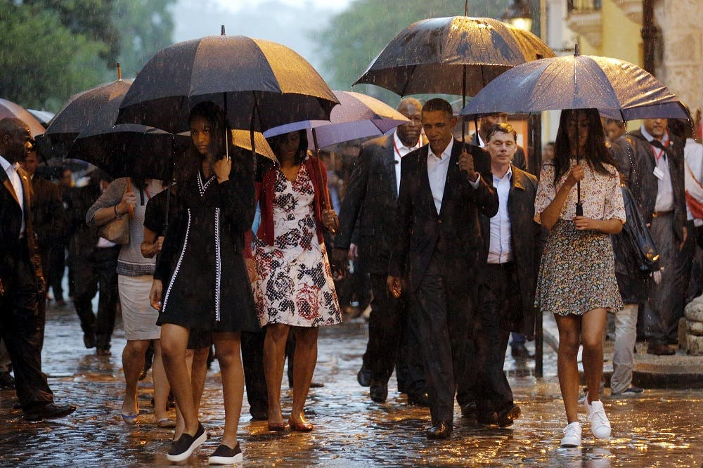 US President Barack Obama tours Old Havana with his family at the start of a three-day visit to Cuba, in Havana. (Reuters)