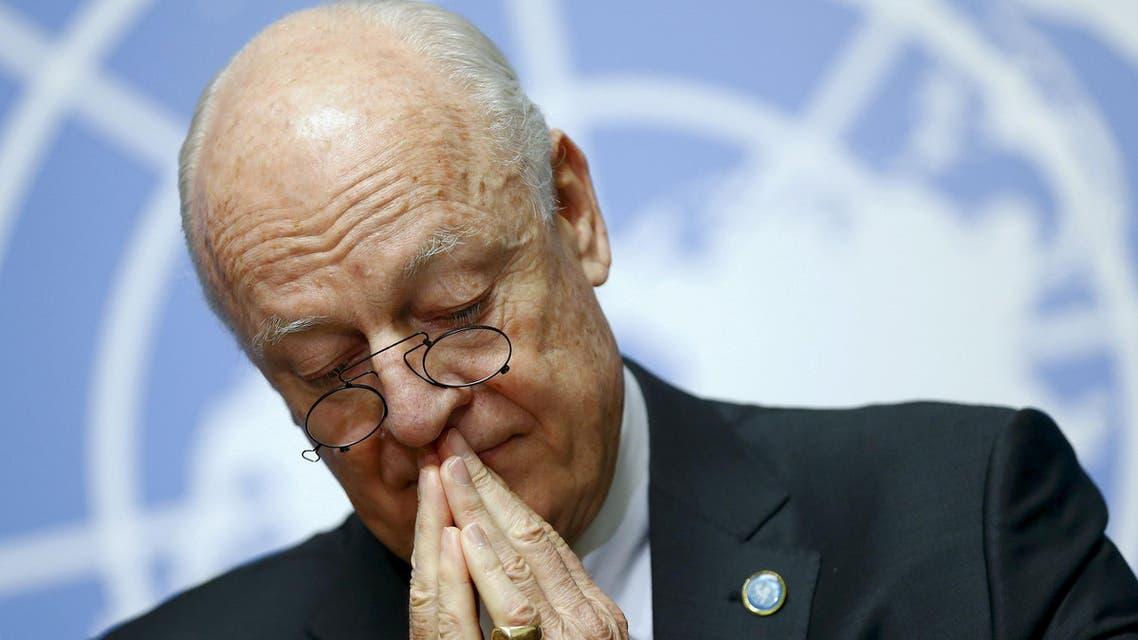 UN mediator for Syria de Mistura attends a news conference on the UN sponsored Syria peace talks in Geneva. (Reuters)