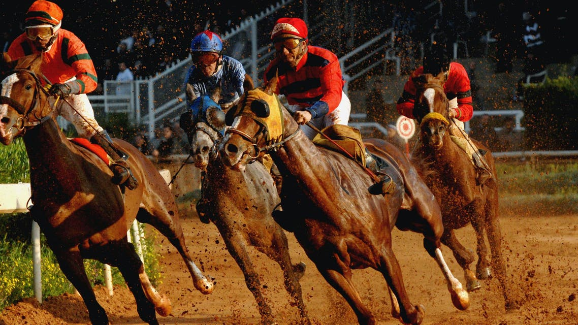 Arabian purebred horses race in the Hippodrome of Beirut, Lebanon Sunday, Feb. 11, 2007. Arabian pure bred which are particularly suited to endurance racing, race every Sunday in the Hippodrome during races popular amongst Beirut people and the betting crowd. (AP)