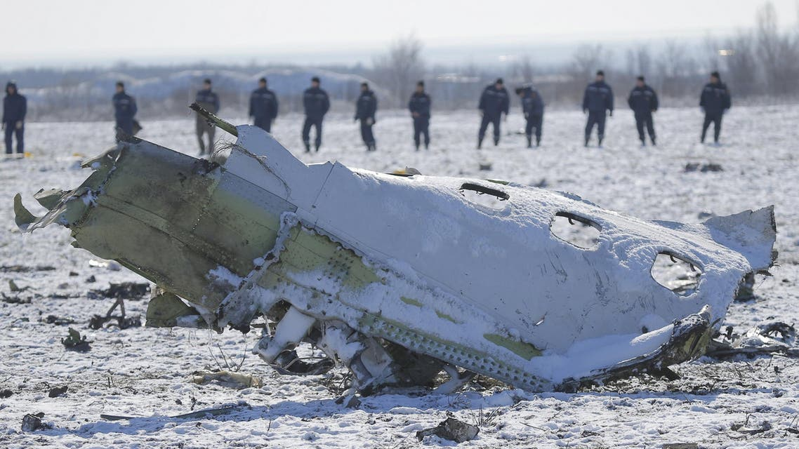 Emergencies Ministry members work at the crash site of a Boeing 737-800 Flight FZ981 operated by Dubai-based budget carrier Flydubai, at the airport of Rostov-On-Don. (Reuters)