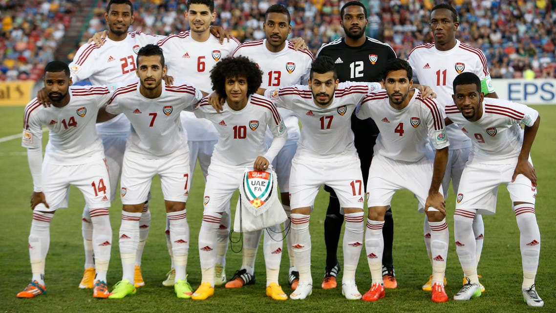 UAE players pose for a team photo before the Asian Cup third-place playoff soccer match against Iraq at the Newcastle Stadium in Newcastle January 30, 2015. (Reuters)
