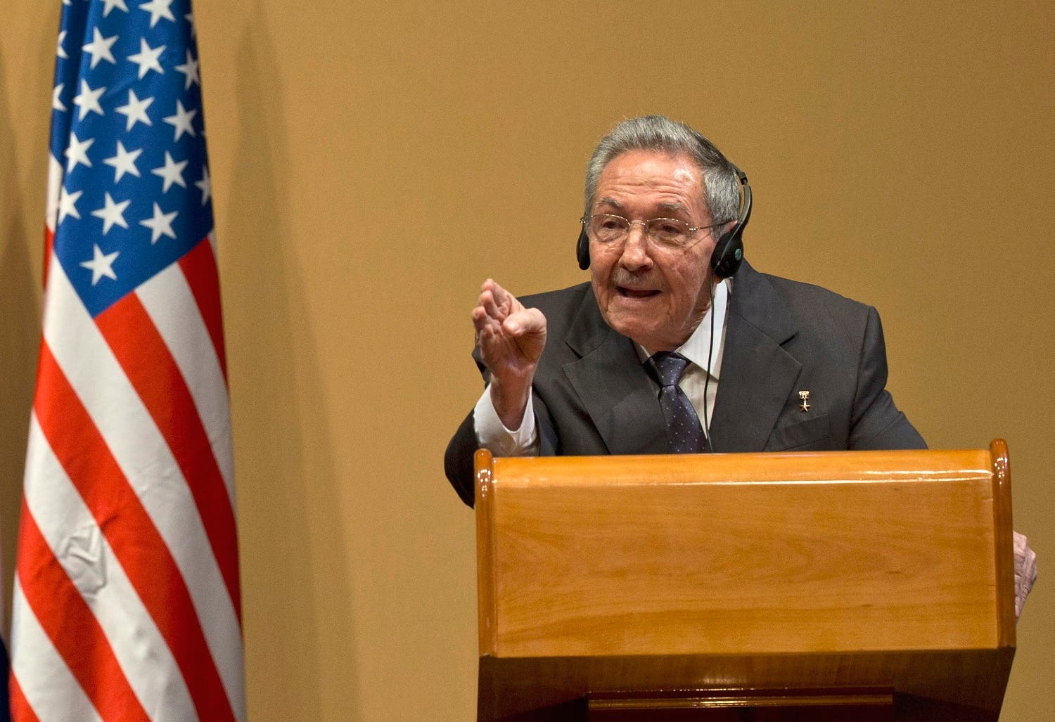 Cuba's President Raul Castro gestures as he speaks during a press conference after a joint statement with US President Barack Obama in Havana, Cuba, Monday, March 21, 2016. (AP)