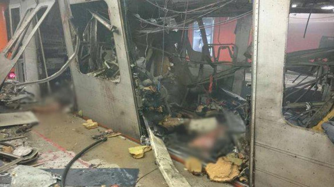 """At least 10 were killed in an """"enormous"""" explosion in the Maalbeek metro station. (Image via Twitter)"""