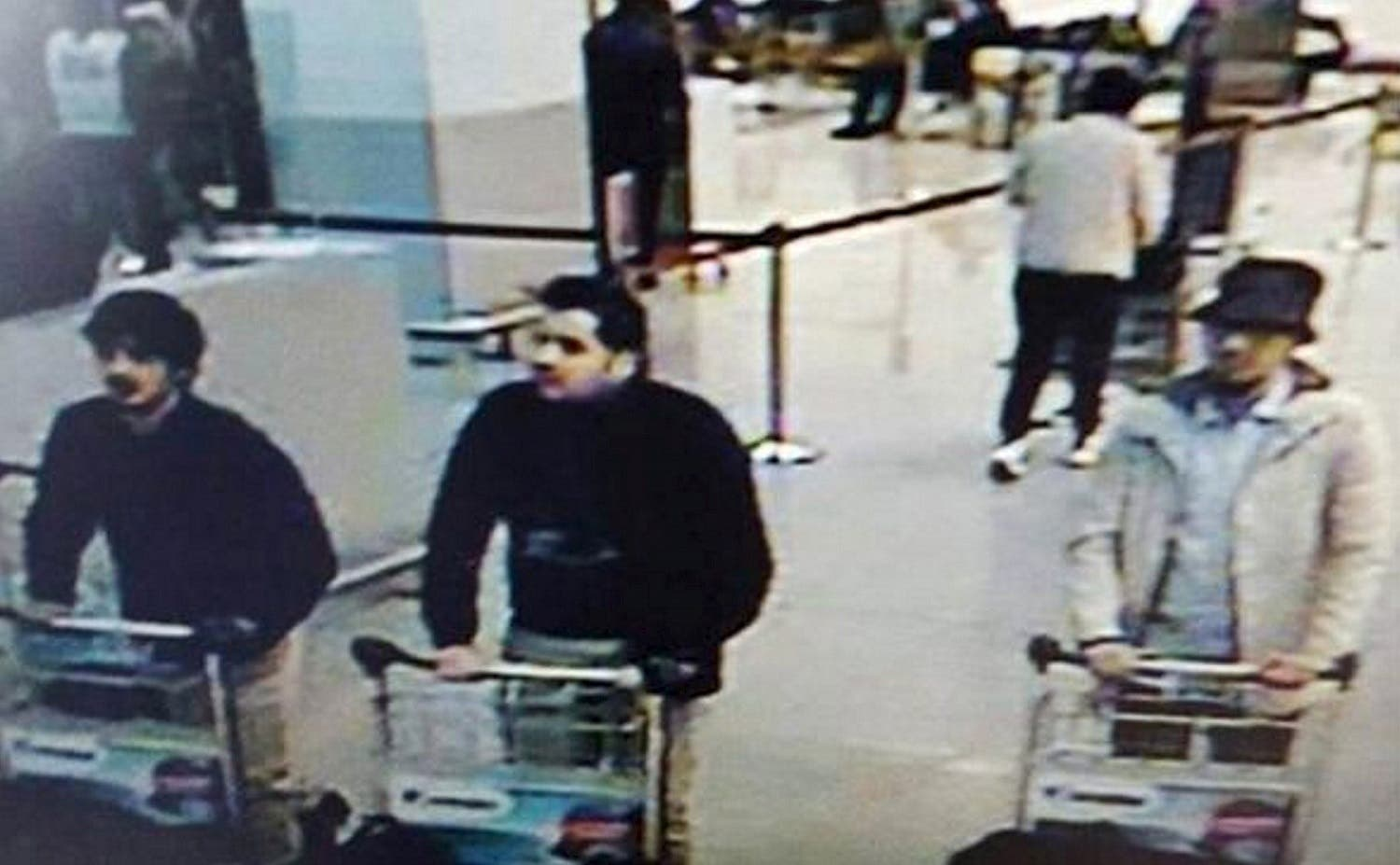CCTV surveillance image shows what Belgian officials believe may be suspects in the Brussels airport attack. (Reuters)