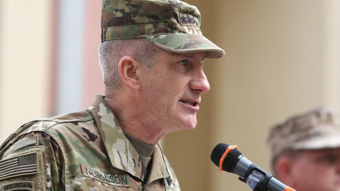 New Commander of Resolute Support forces and United States forces in Afghanistan, US Army General John Nicholson, speaks during a change of command ceremony in Resolute Support headquarters in Kabul, Afghanistan, Wednesday, March 2, 2016. (AP)