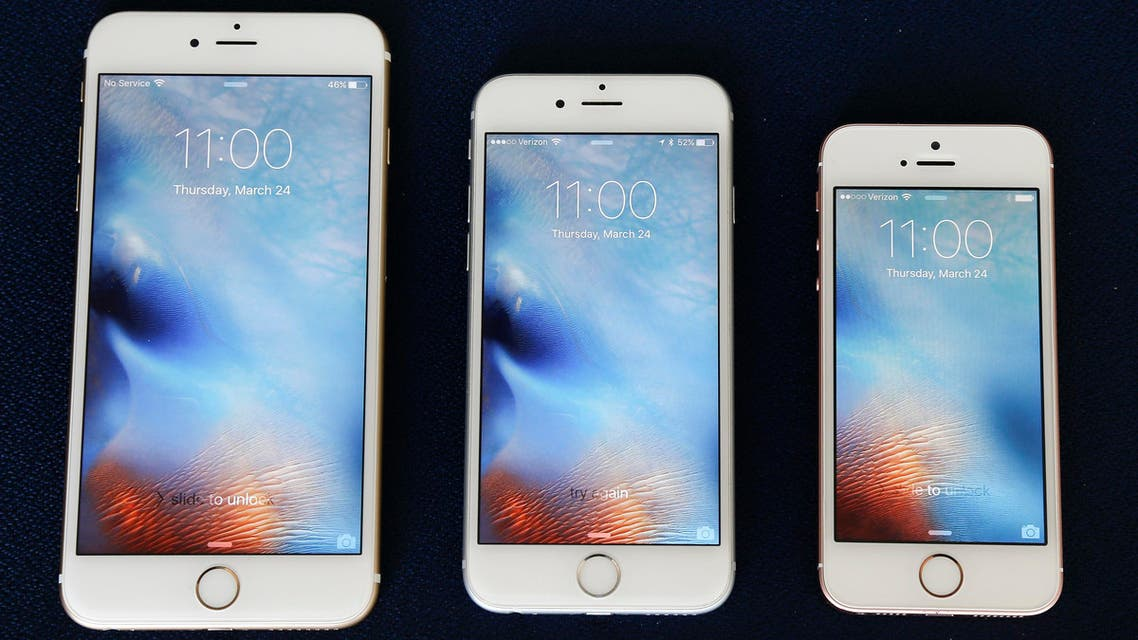 From left, the iPhone 6S Plus, 6S and SE lie next to each other in a comparison photograph, Thursday, March 24, 2016. (AP)