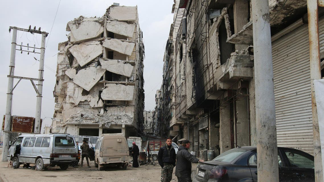 In this Thursday, Feb. 11, 2016 photo, a building is seen with heavy damage in Aleppo, Syria.  (Reuters)