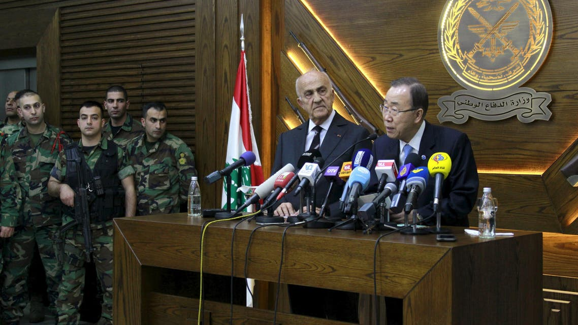 United Nations Secretary-General Ban Ki-moon (R) talks during a news conference next to Lebanese Deputy Prime Minister and Defense Minister Samir Moqbel (2nd R) at the Ministry of Defense in Yarze, east of Beirut, Lebanon March 24, 2016. REUTERS