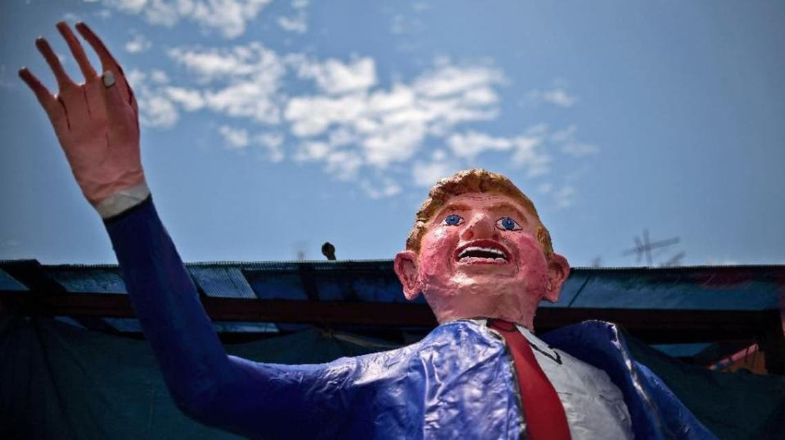 A dummy made by Mexican craftsman Felipe Linares representing US Republican presidential candidate Donald Trump is seen at his workshop in Mexico City on March 24, 2016. (AFP)