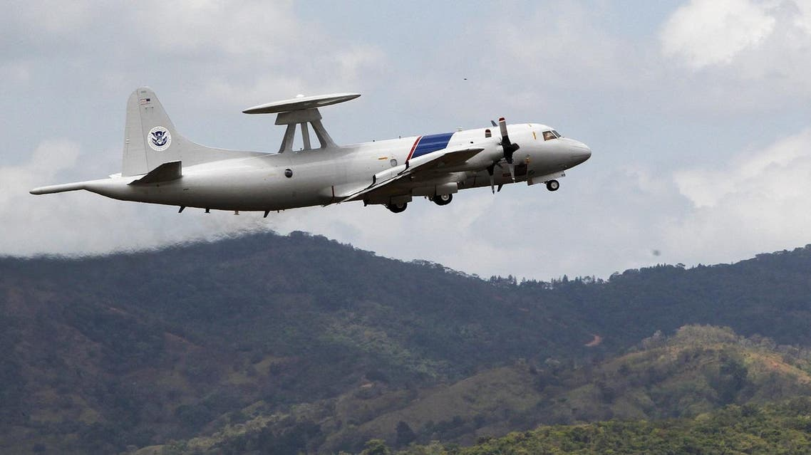 A US Lockheed P-3 Orion variant is seen after it took off from Tocumen international airport during an organized media visit in Panama City. (Reuters)