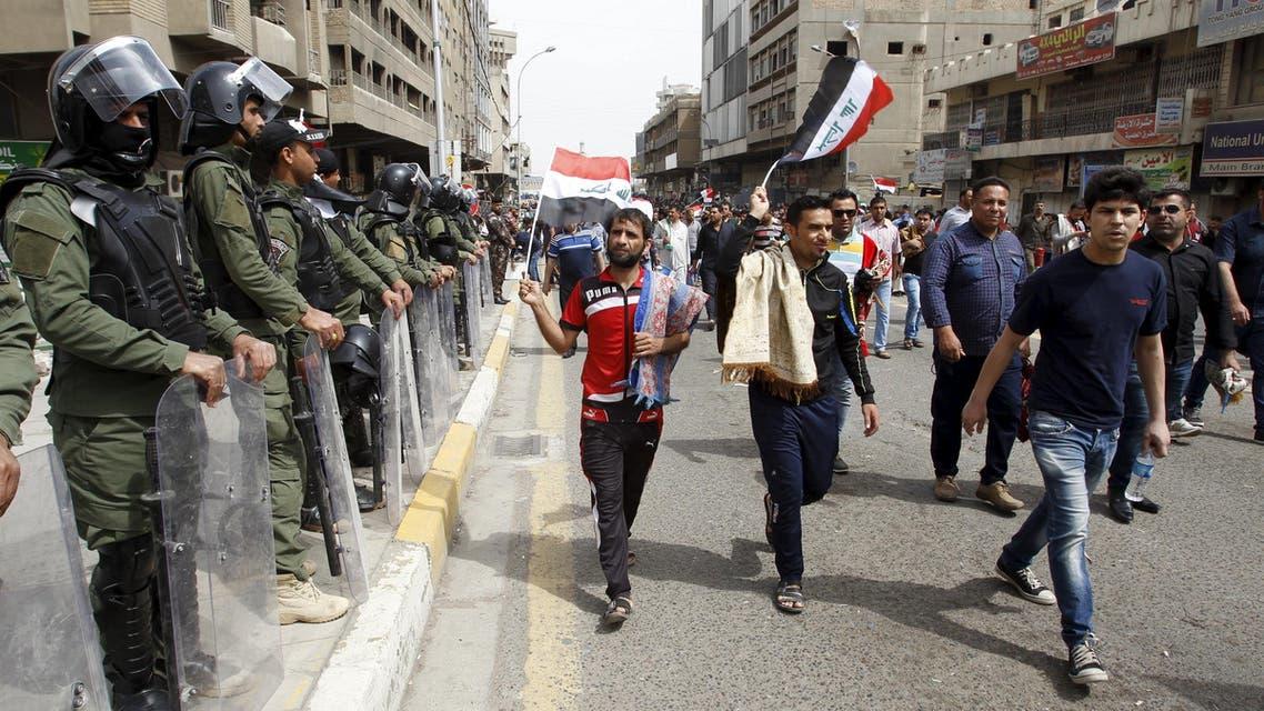 Iraq's Sadr supporters shout slogans against corruption