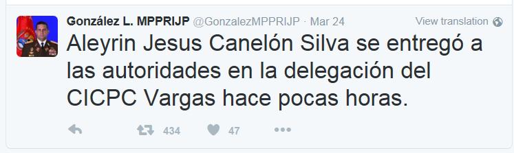 تغريدة وزير الداخلية الفنزويلي