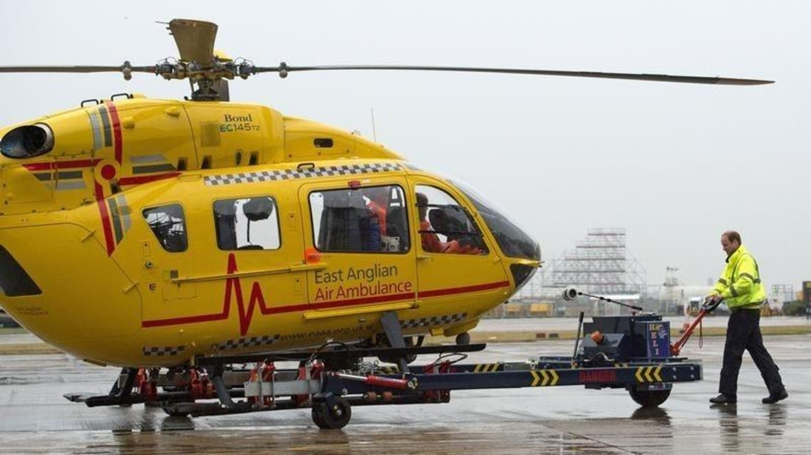 A file photo shows an ambulance helicopter REUTERS