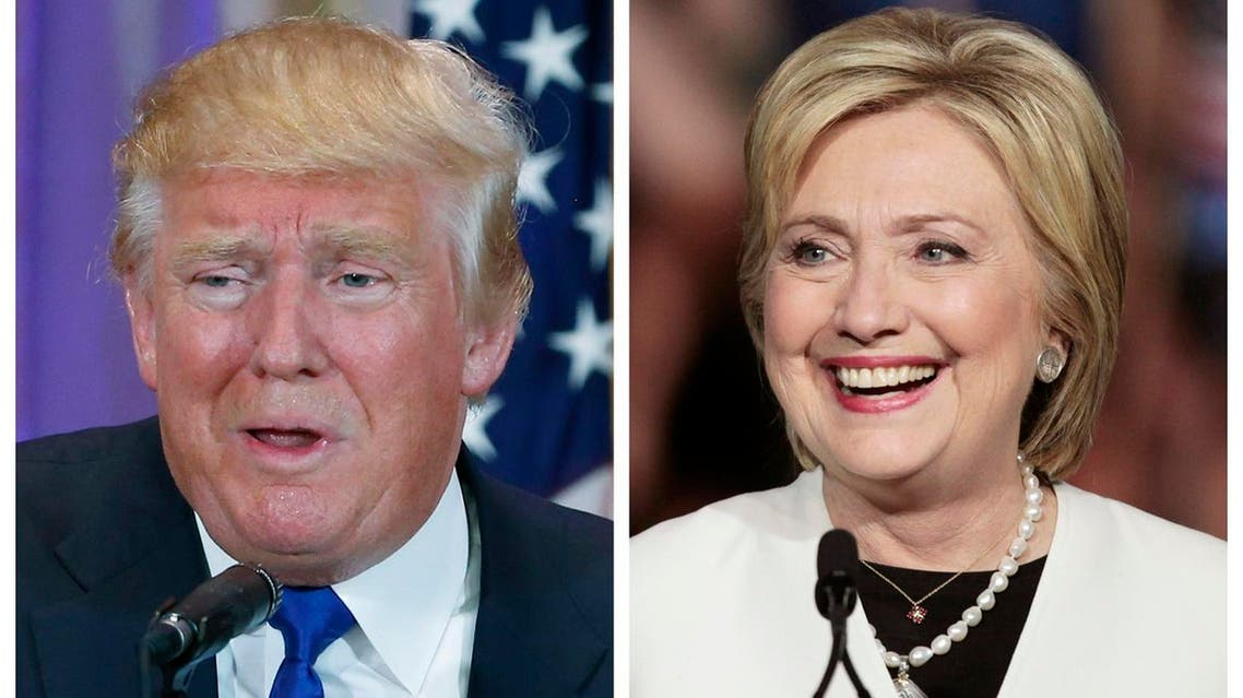 A combination photo shows Republican U.S. presidential candidate Donald Trump (L) in Palm Beach, Florida and Democratic U.S. presidential candidate Hillary Clinton (R) in Miami, Florida at their respective Super Tuesday primaries campaign events on March 1, 2016. Reuters