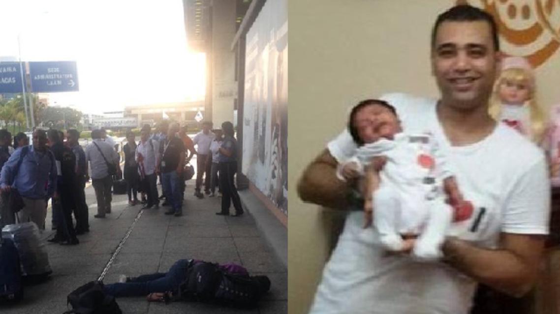 عبد الرحمن السيد مع طفلته في الاسكندرية، وقتيلا على رصيف المطار الفنزويلي