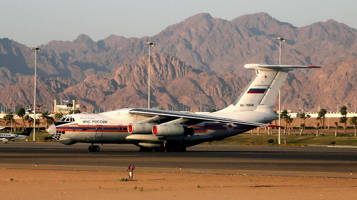 An Il-76 plane of the Russian Emergencies Ministry is seen at the airport of the Red Sea resort of Sharm el-Sheikh, Egypt November 13, 2015. (Reuters)
