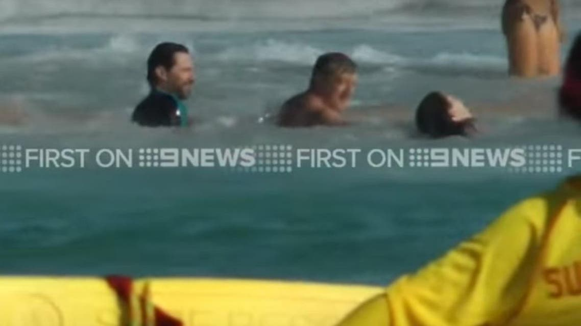 Hugh Jackman saving on Bondi Beach. (Screengrab: 9News)