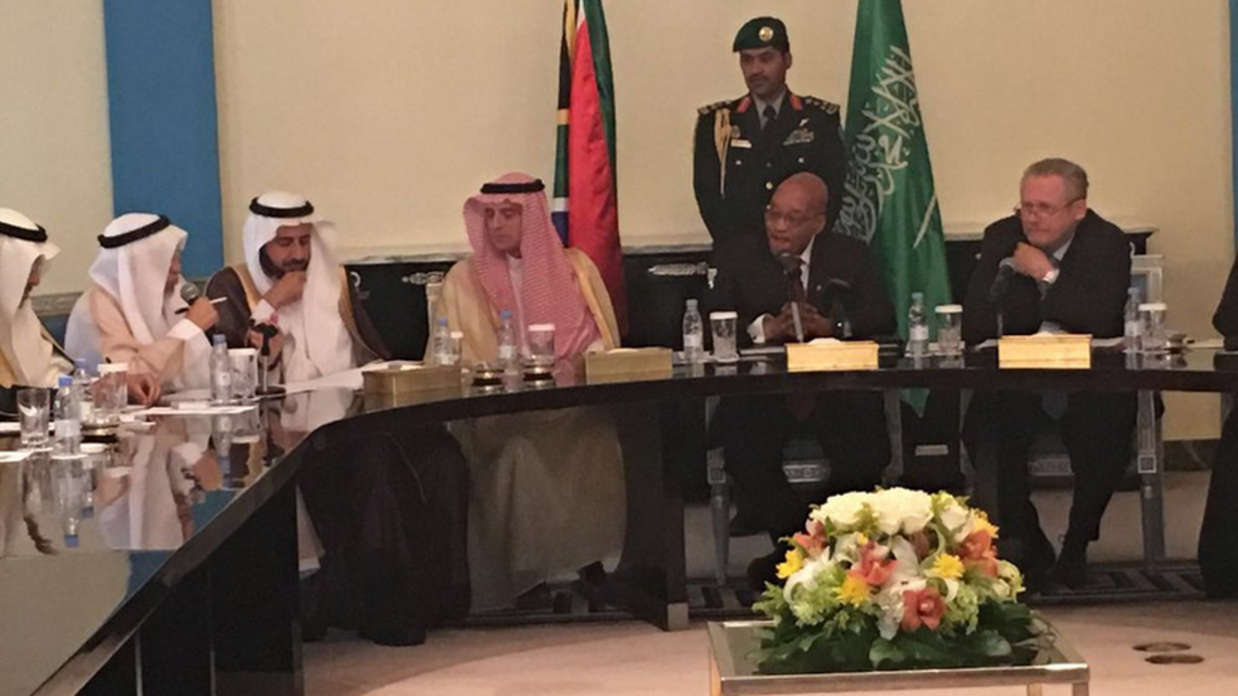 South African President Jacob Zuma seen in a meeting with Saudi Foreign Minister Adel al-Jubeir in a meeting in Riyadh on March 27, 2016 (Photo courtesy Twitter)