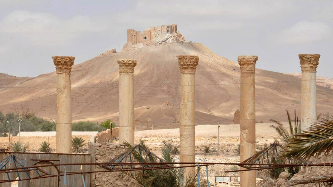 The old citadel of Palmyra is pictured in the background after forces loyal to Syria's President Bashar al-Assad recaptured the city, in Homs Governorate on March 27, 2016. (Photo courtesy SANA