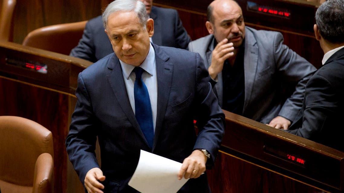 Israel's Prime Minister Benjamin Netanyahu attends a session in the Knesset, Israel's parliament in Jerusalem, Monday, Feb. 8, 2016. (AP)
