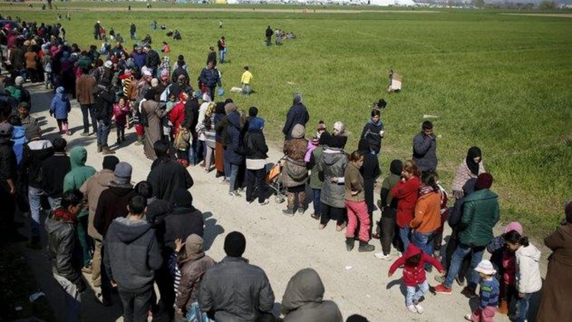 لاجئون على الحدود اليونانية المقدونية