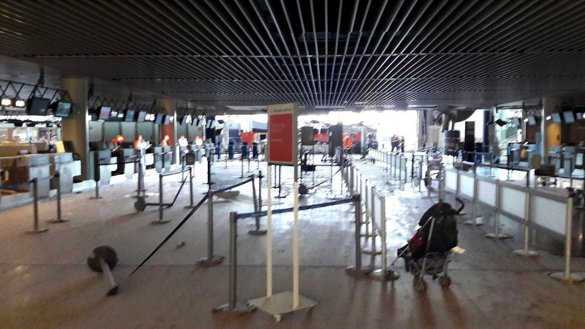 Damage is seen inside the departure terminal following the March 22, 2016 bombing at Zaventem Airport, in these undated photos made available to Reuters by the Belgian newspaper Het Nieuwsblad, in Brussels, Belgium, March 29, 2016. Het Nieuwsblad via REUTERSATTENTION EDITORS - THIS PICTURE WAS PROVIDED BY A THIRD PARTY. IT IS DISTRIBUTED BY REUTERS AS A SERVICE TO CLIENTS. EDITORIAL USE ONLY. NOT FOR SALE FOR MARKETING OR ADVERTISING CAMPAIGNS. NO RESALES. NO ARCHIVE. BELGIUM OUT. NO COMMERCIAL OR EDITORIAL SALES IN BELGIUM.