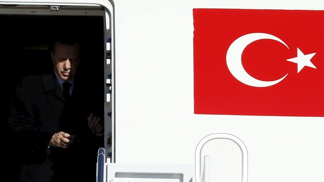Turkish President Tayyip Erdogan arrives at Joint Base Andrews outside Washington. (Reuters)