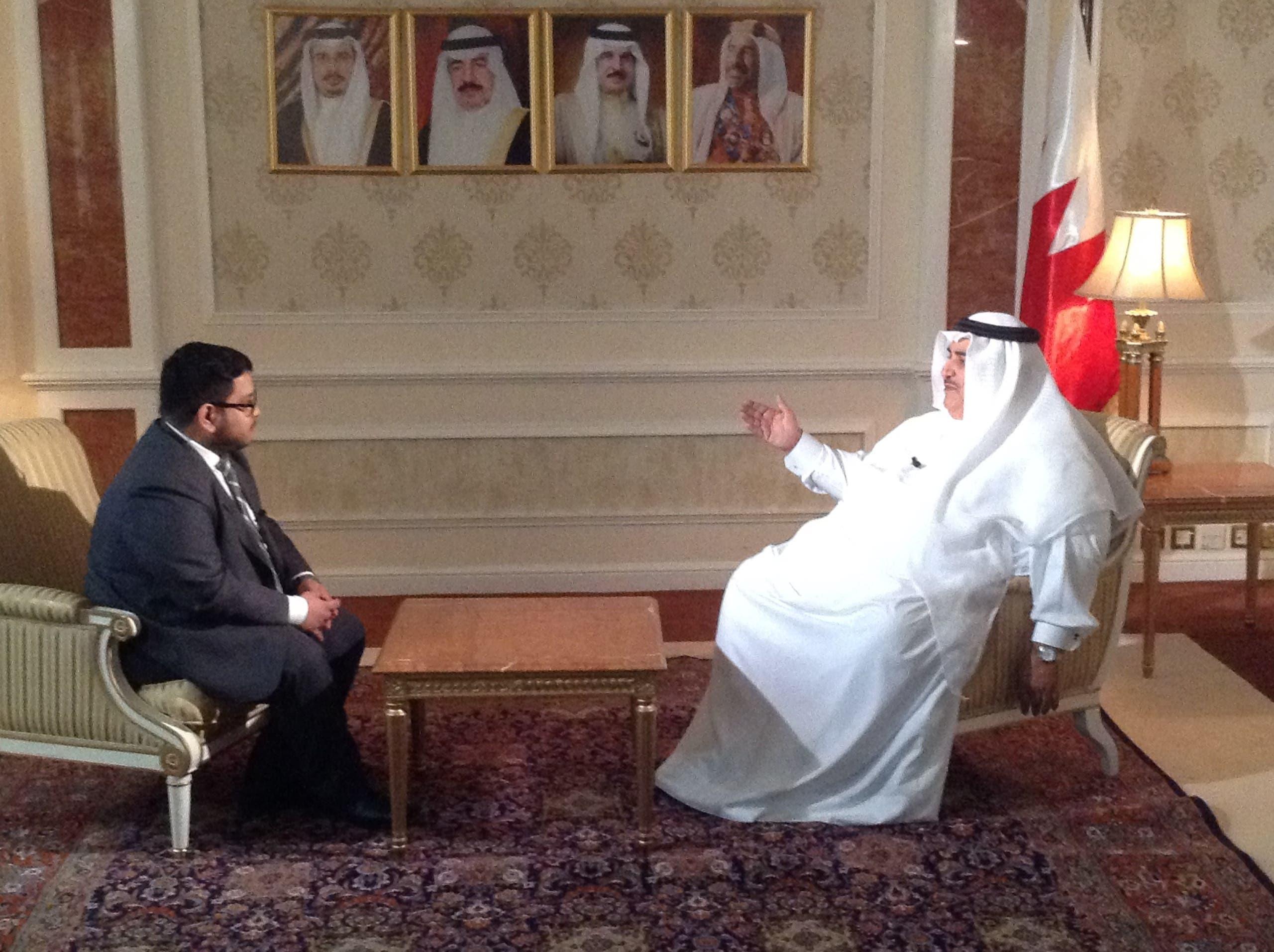 Al Arabiya English journalist Ismaeel Naar interviews Bahrain's Minister of Foreign Affairs Sheikh Khalid bin Ahmed Al Khalifa. (Al Arabiya)