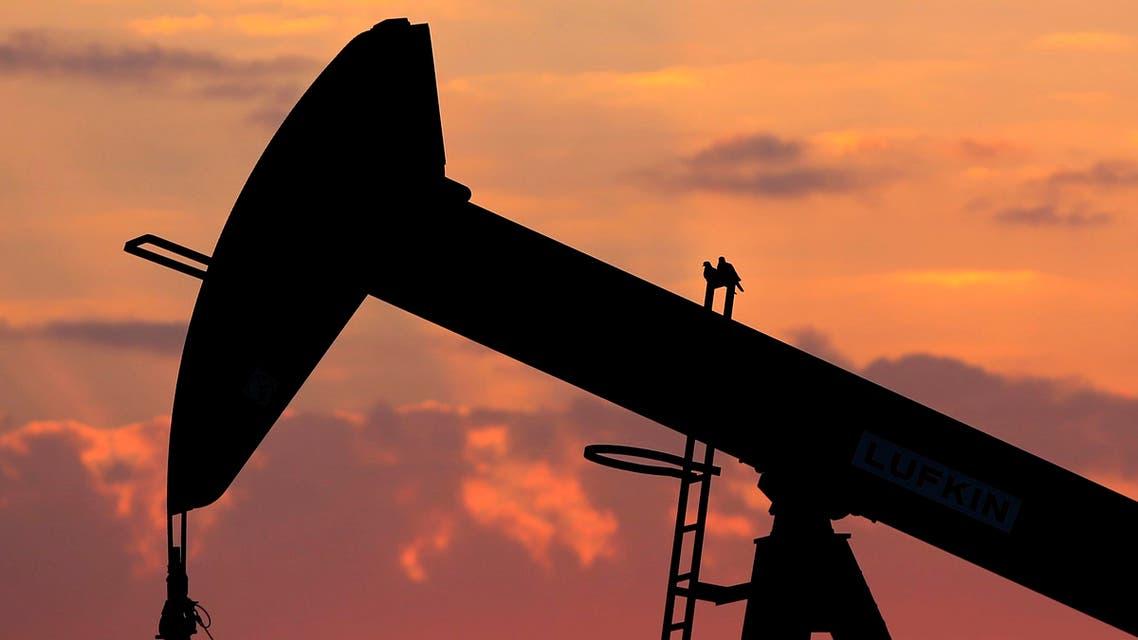 Doves sit on an oil pump at sunset in the desert oil fields of Sakhir, Bahrain, Sunday, Dec. 13, 2015. (AP)
