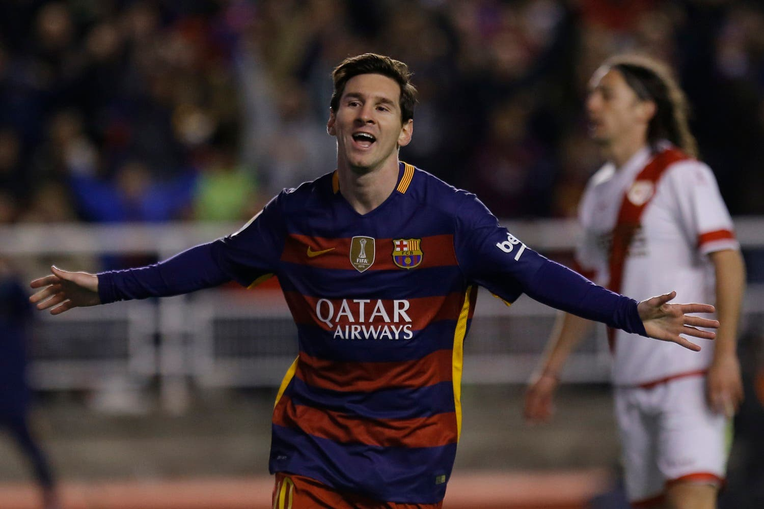 Barcelona's Lionel Messi celebrates after scoring his side's third goal against Rayo Vallecano during a Spanish La Liga soccer match between Barcelona and Rayo Vallecano at the Vallecas stadium in Madrid, Thursday, March 3, 2016. (AP)