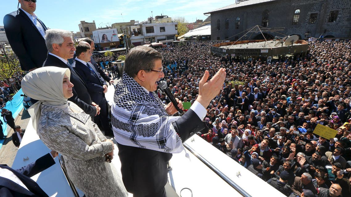 Turkish Prime Minister Ahmet Davutoglu addresses his supporters in the Kurdish-dominated southeastern city of Diyarbakir, Turkey April 1, 2016 in this handout photo provided by the Prime Minister's Press Office. (Reuters)