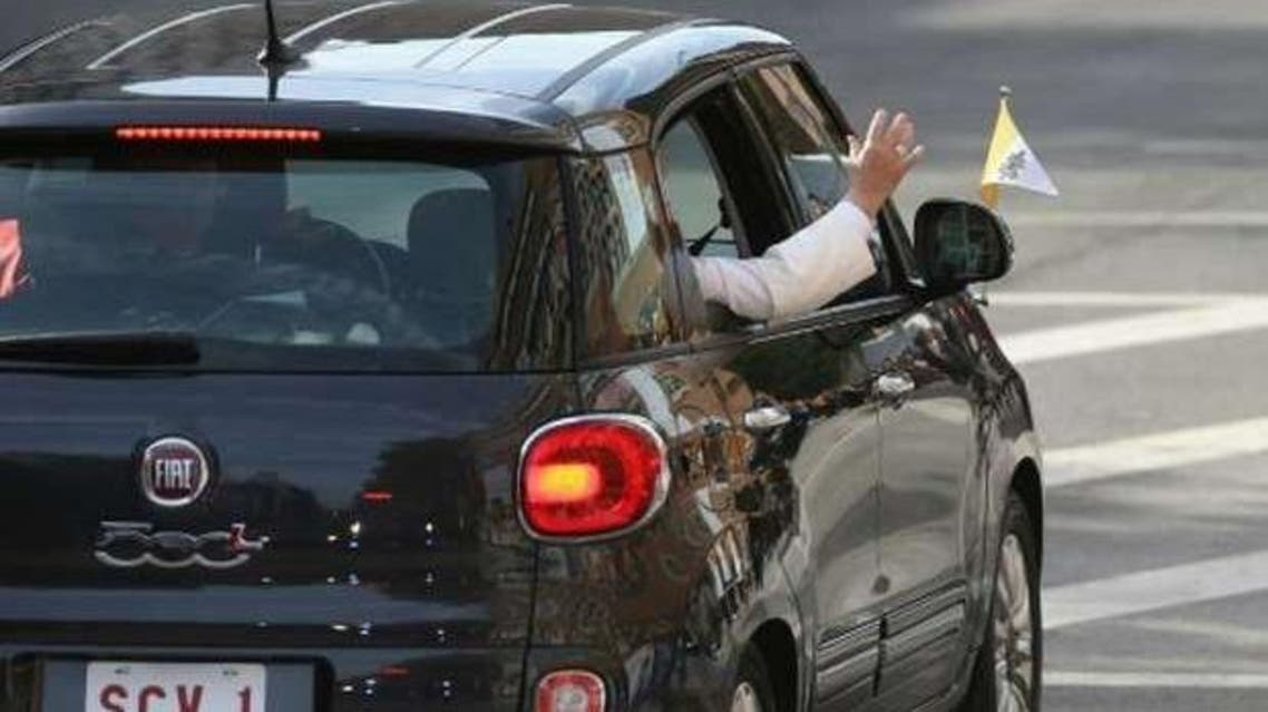 The black Fiat 500 Lounge was one of two such mini Popemobiles that ferried the pontiff around the Big Apple (AFP)