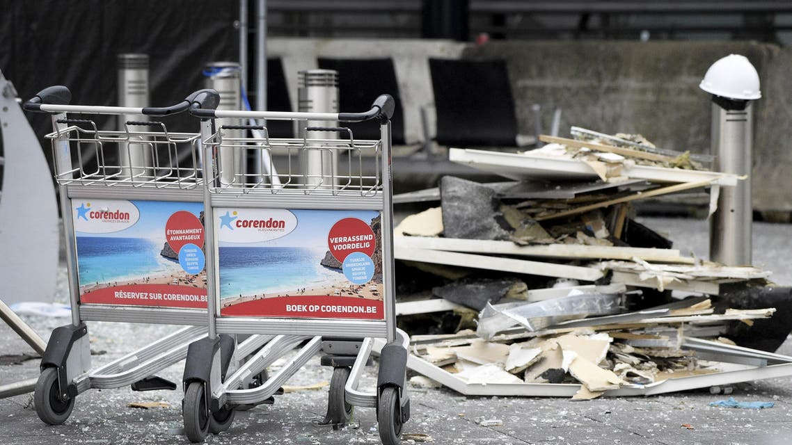 Damage is seen inside the departure terminal following the March 22, 2016 bombing at Zaventem Airport, in these undated photos made available to Reuters by the Belgian newspaper Het Nieuwsblad, in Brussels, Belgium, March 29, 2016. reuters