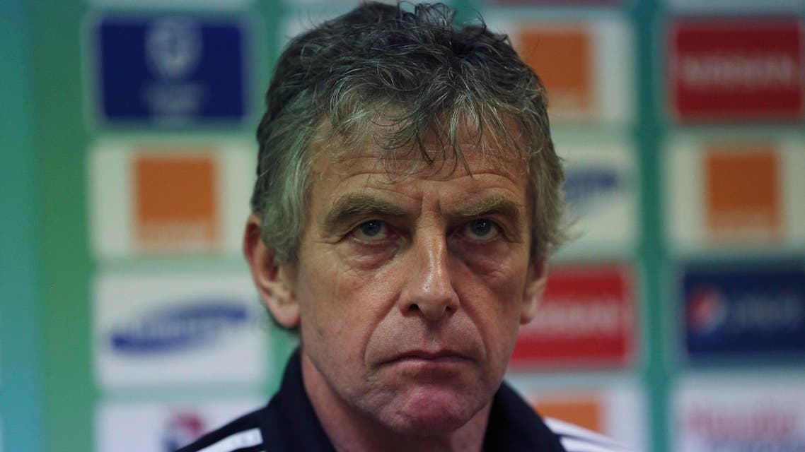 Algeria's soccer coach, Christian Gourcuff, attends a press conference ahead of their final Group C Match on Tuesday against Senegal's at Estadio De Malabo in Malabo, Equatorial Guinea, Monday, Jan. 26, 2015. (AP Photo/Sunday Alamba)