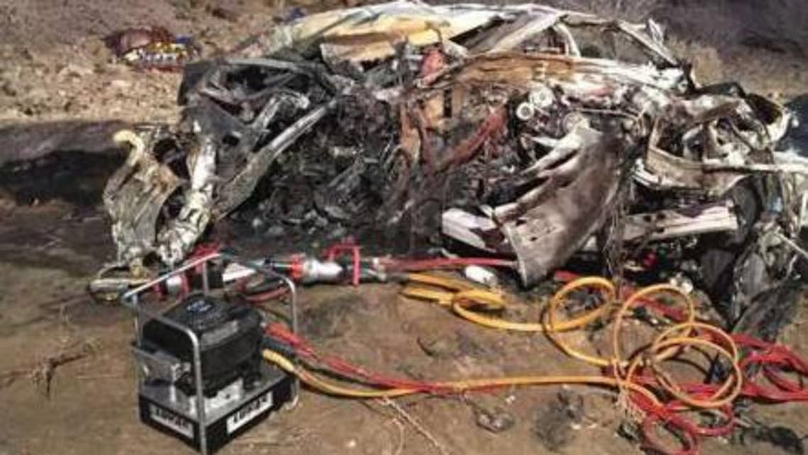 The wreckage following the accident that killed 15 people, including six children, in Saudi Arabia.