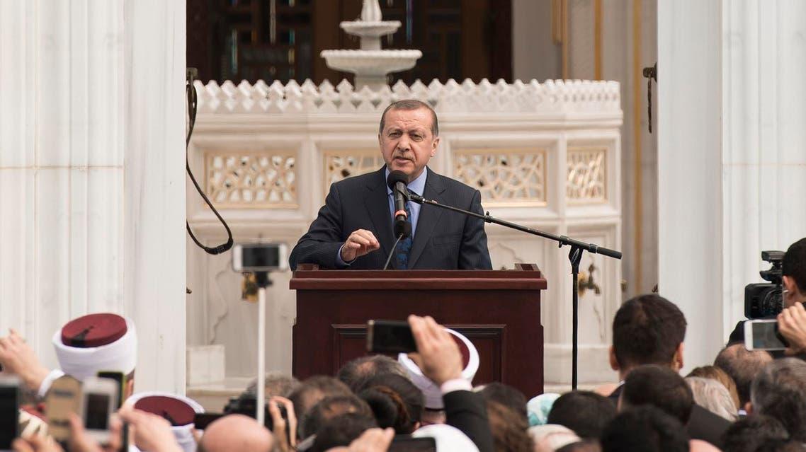Turkish President Recep Tayyip Erdogan speaks at the inauguration of the Diyanet Center of America in Lanham, Md., on Saturday, April 2, 2016. (AP)