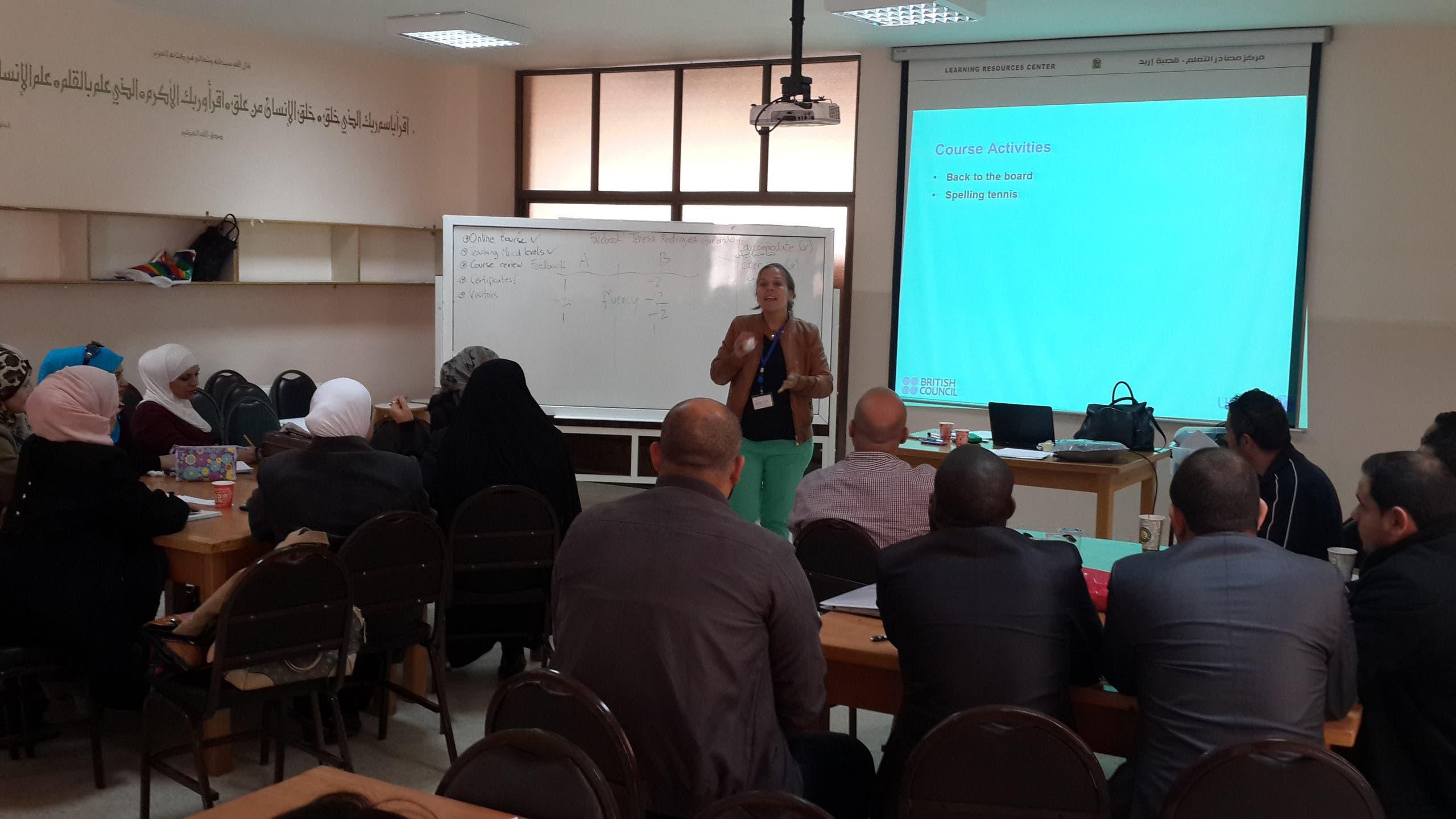 RODRIGUES TRAINS JORDANIAN TEACHERS IN AN EDUCATIONAL CTNER IN IRBID MARCH 22, 2016.