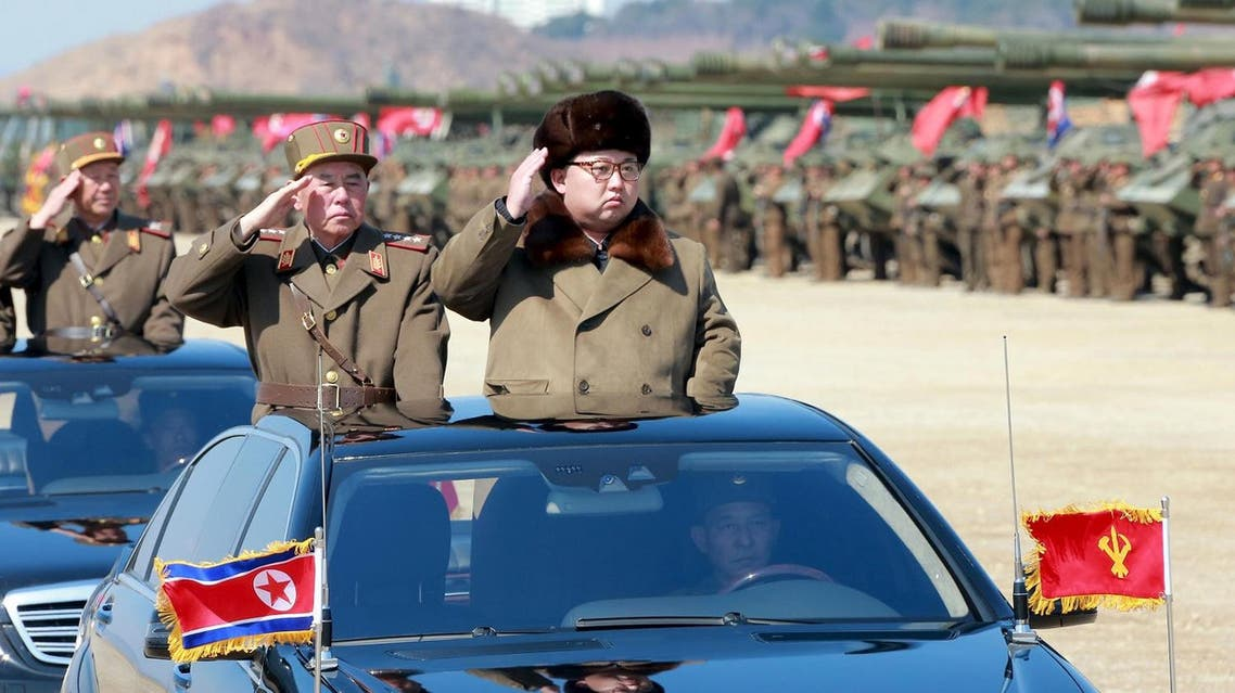 North Korean leader Kim Jong Un salutes as he arrives to inspect a military drill at an unknown location, in this undated photo released by North Korea's Korean Central News Agency (KCNA) on March 25, 2016. (REUTERS/KCNA)