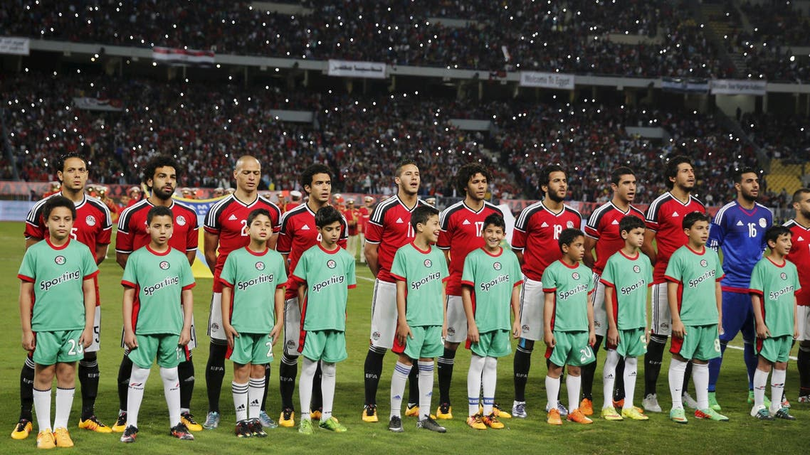Egypt players listen the national anthem before the game against Nigeria last month. (Reuters)