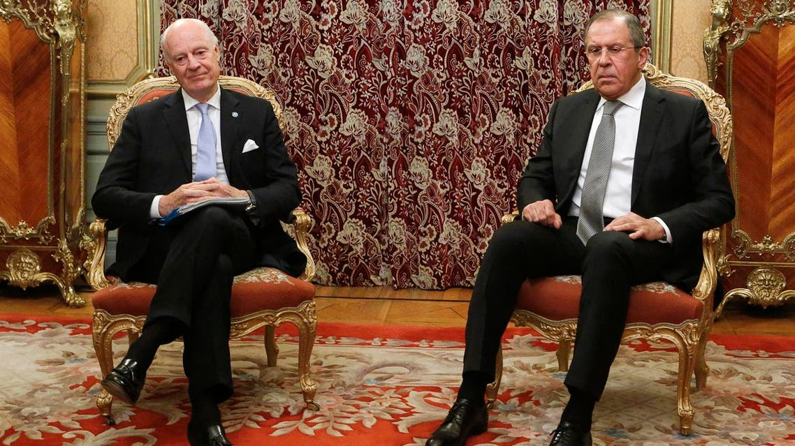 Russian Foreign Minister Lavrov meets with UN Special Envoy Mistura in Moscow. (Reuters)