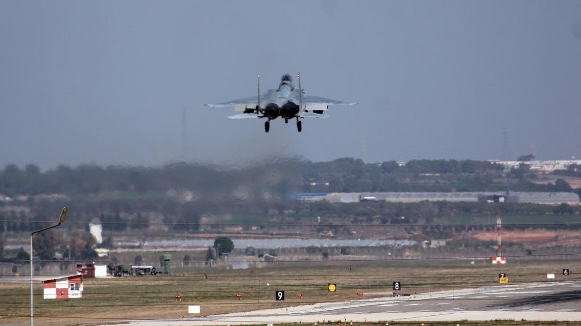 A Saudi jet fighter prepares to land at Incirlik Air Base near Adana, southern Turkey, Friday, Feb. 26, 2016. Ibrahim Kalin, a top aide to Turkey's President Recep Tayyip Erdogan said Saudi military aircraft that will join the fight against Islamic State militia in Syria have begun arriving at a southern Turkish air base. (AP)