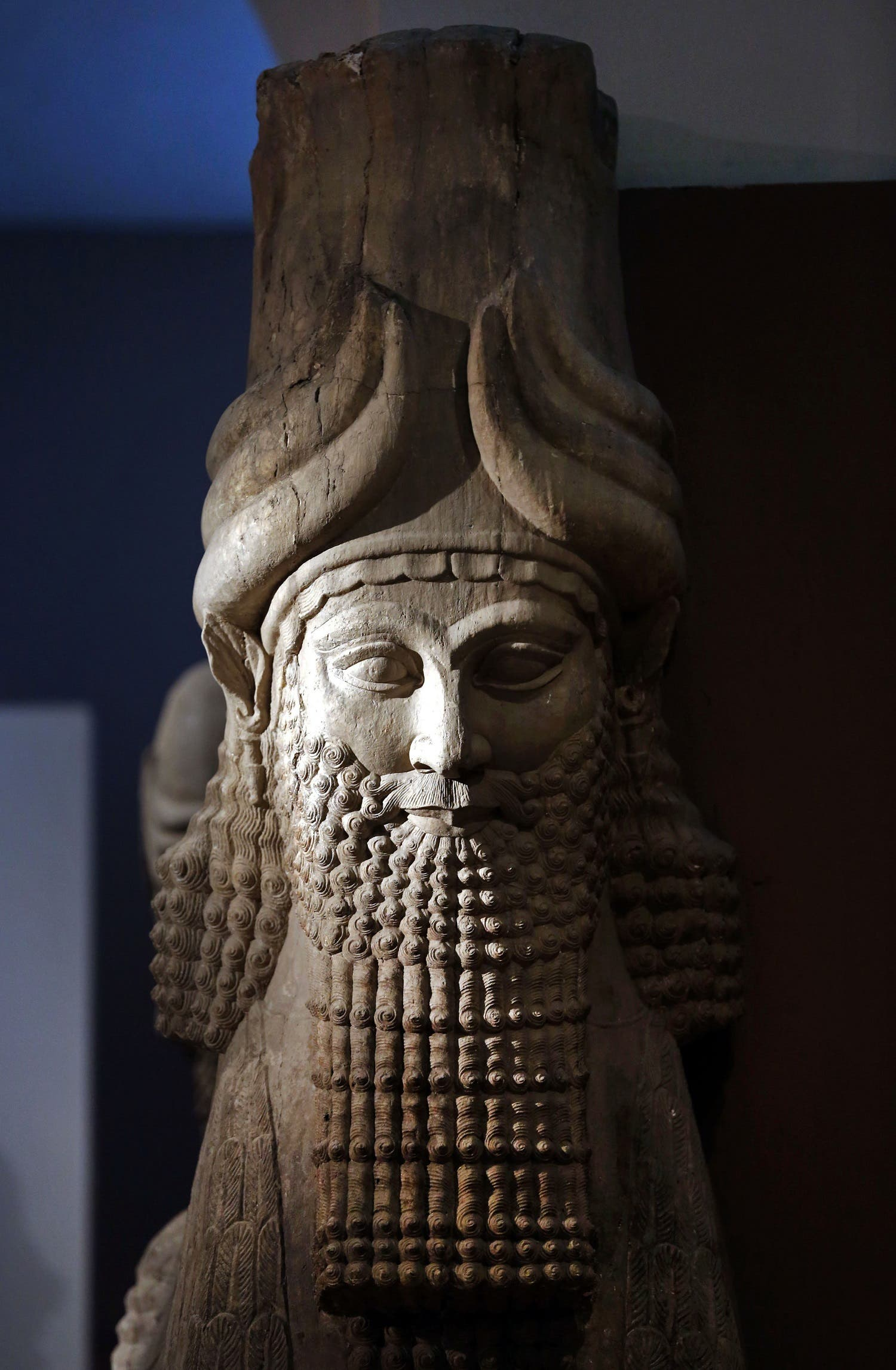 his file photo taken on Monday, Sept. 15, 2014, shows a detail of a statue of Lamassu, the great winged bull from the Assyrian period displayed at the Iraq National Museum in Baghdad. (AP)