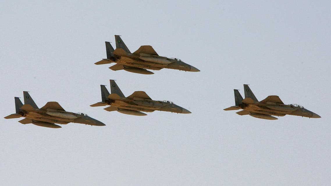 In this Sunday, Jan. 25, 2009 file photo, F-15 warplanes of the Saudi Air Force fly over the Saudi Arabian capital Riyadh during a graduation ceremony at King Faisal Air Force University. The Obama administration is expected to notify Congress on Wednesday, Oct. 20, 2010 of a multibillion-dollar sale of fighter jets and military helicopters to Saudi Arabia, including as many as 84 new F-15 fighter jets and three types of helicopters, officials said Tuesday, Oct. 19, 2010. (AP)