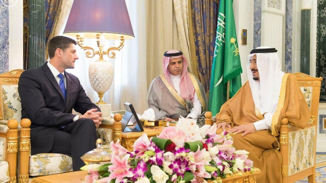 Saudi King Salman speaks with US Speaker of the House Paul Ryan. (SPA)