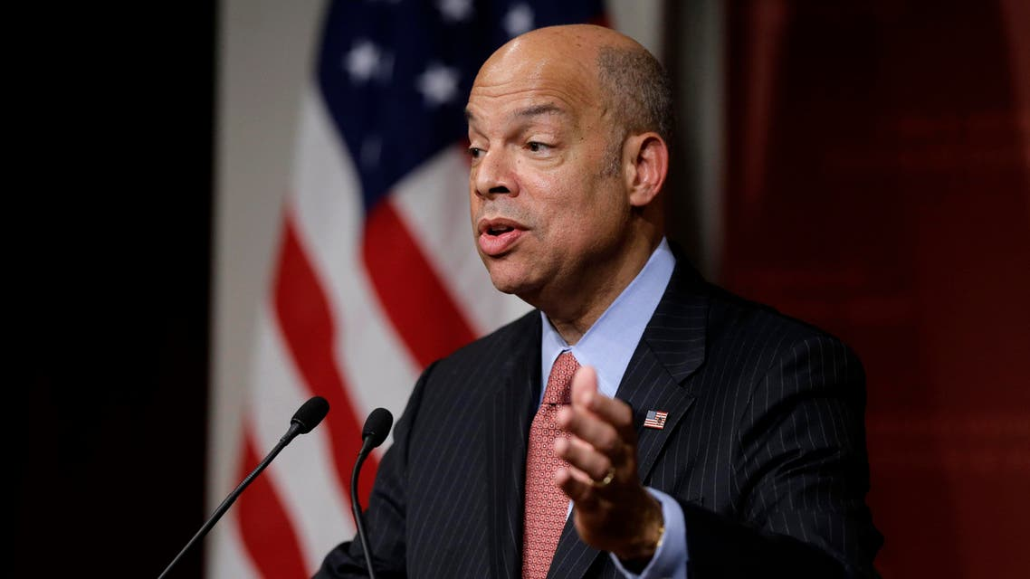 Homeland Security Secretary Jeh Johnson addresses an audience Monday, March 21, 2016 during a forum at John F. Kennedy School of Government on the campus of Harvard University, in Cambridge, Mass. Johnson was sworn in as the fourth Secretary of Homeland Security in 2013. (AP)