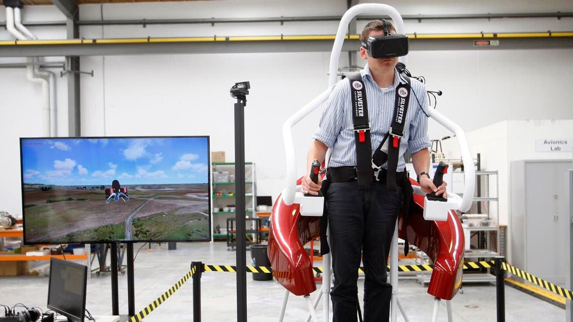 In this Feb. 9, 2016 photo, test pilot Michael van der Vliet operates a flight simulator at the Martin Aircraft Co. headquarters in Christchurch, New Zealand. The company says it's close to commercial liftoff, but the man who started it fears his vision of a personal jetpack will remain grounded. (AP)