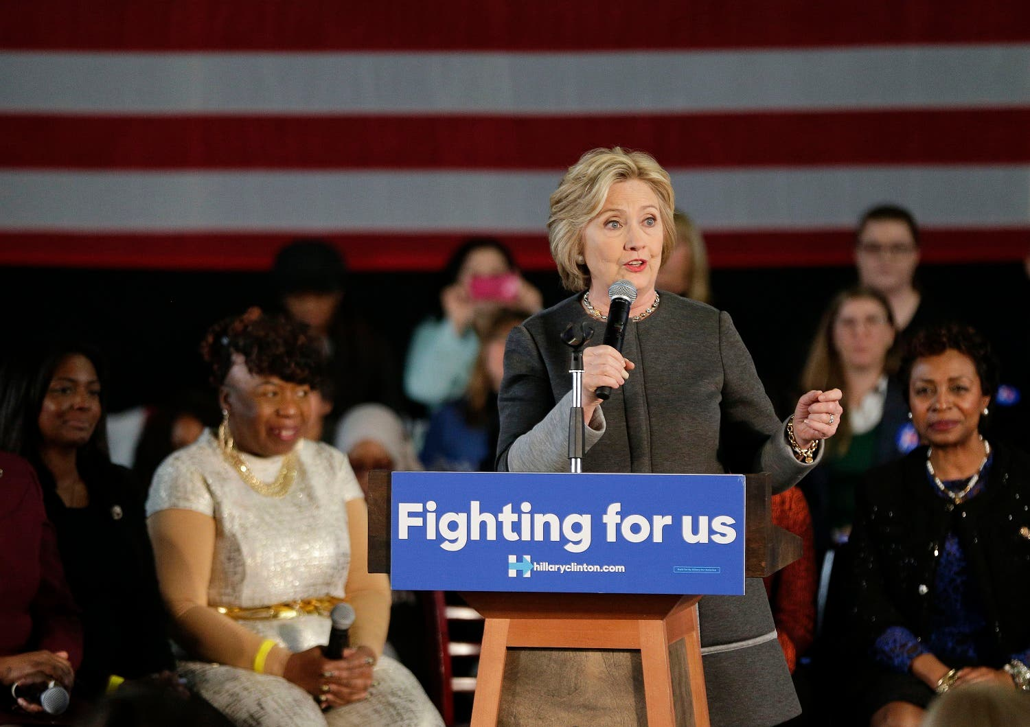 In this Tuesday, April 5, 2016 file photo, Democratic presidential candidate Hillary Clinton speaks during a campaign stop, in New York. The presidential primary is descending on New York, with voting on April 19 as the first time the state has a played a meaningful role in the nominating process in decades. New York is a coveted prize, offering the most delegates of any contest left on the primary calendar until California votes on June 7. (AP)