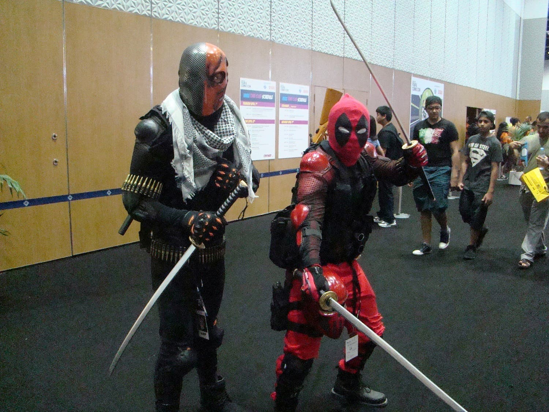 Cosplayers for Deathstroke and Deadpool at MEFCC 2016. (Tarek Ali Ahmad, Al Arabiya English)