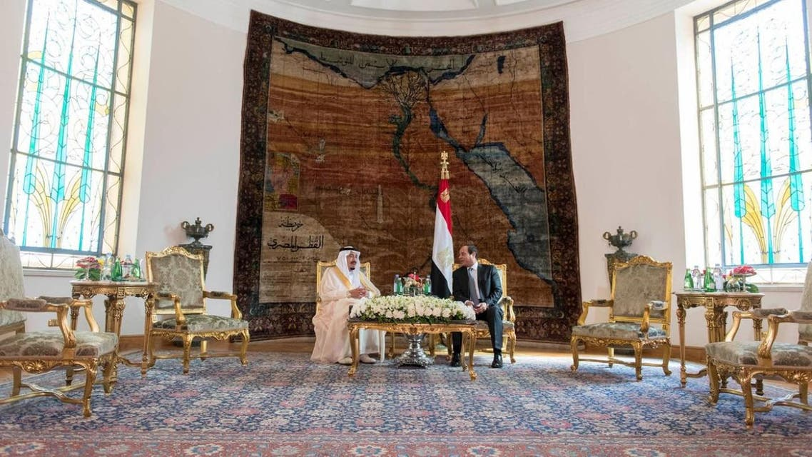 Egypt's President Abdel Fattah al-Sisi meets Saudi Arabia's King Salman in Cairo, Egypt, in this handout photo received April 7, 2016. REUTERS/Saudi Press Agency