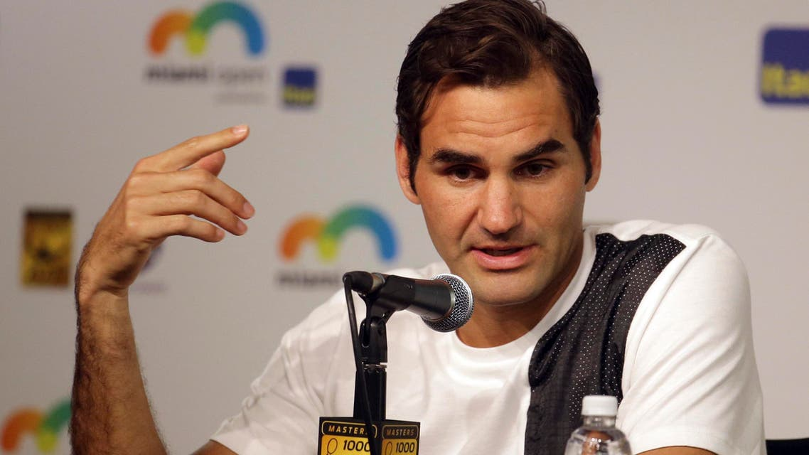 Roger Federer, of Switzerland, responds to a question during a news conference at the Miami Open tennis tournament, Thursday, March 24, 2016, in Key Biscayne, Fla.
